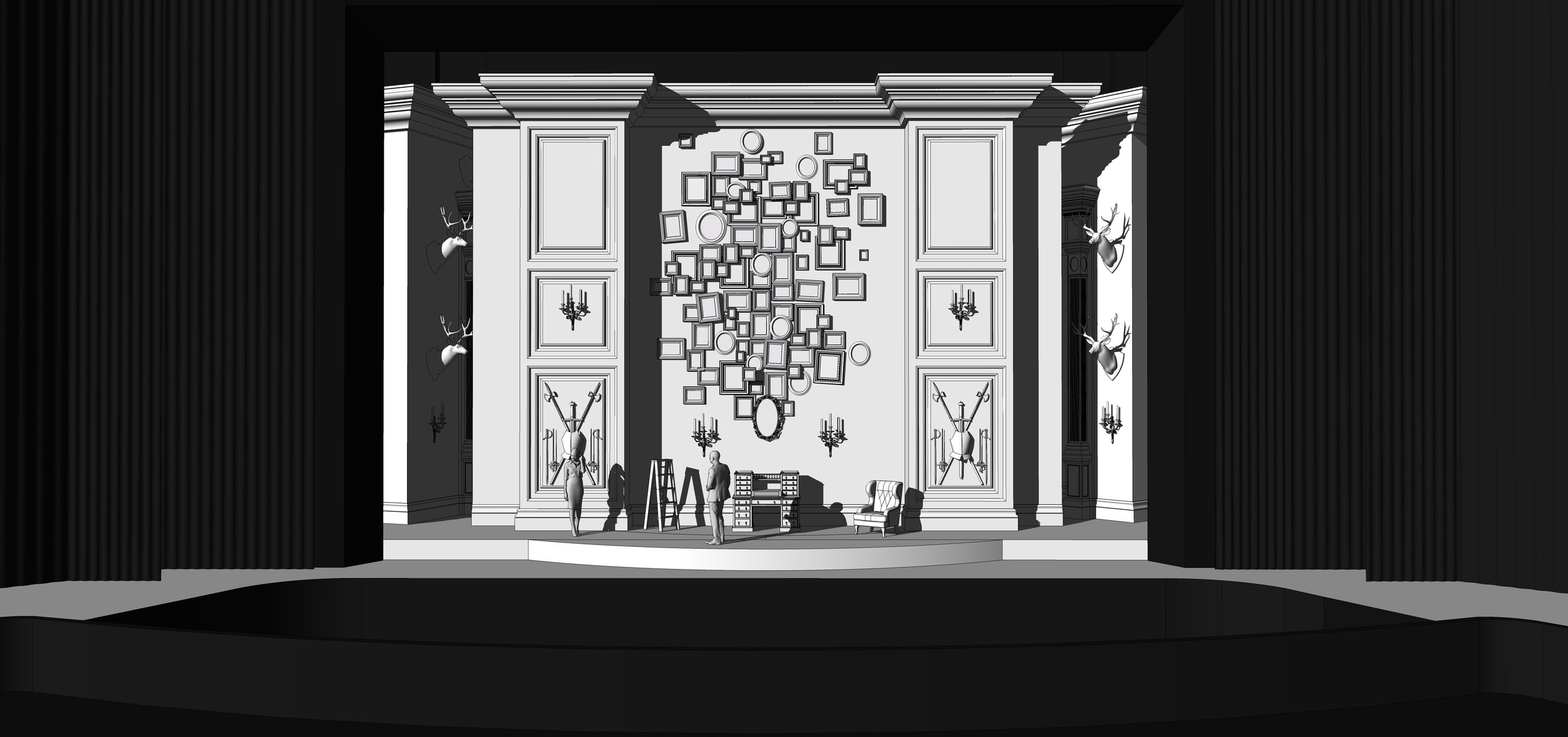 FINAL DESIGN | Act 2 Scene 1 - The Study in Ravenswood Castle - SketchUp Model