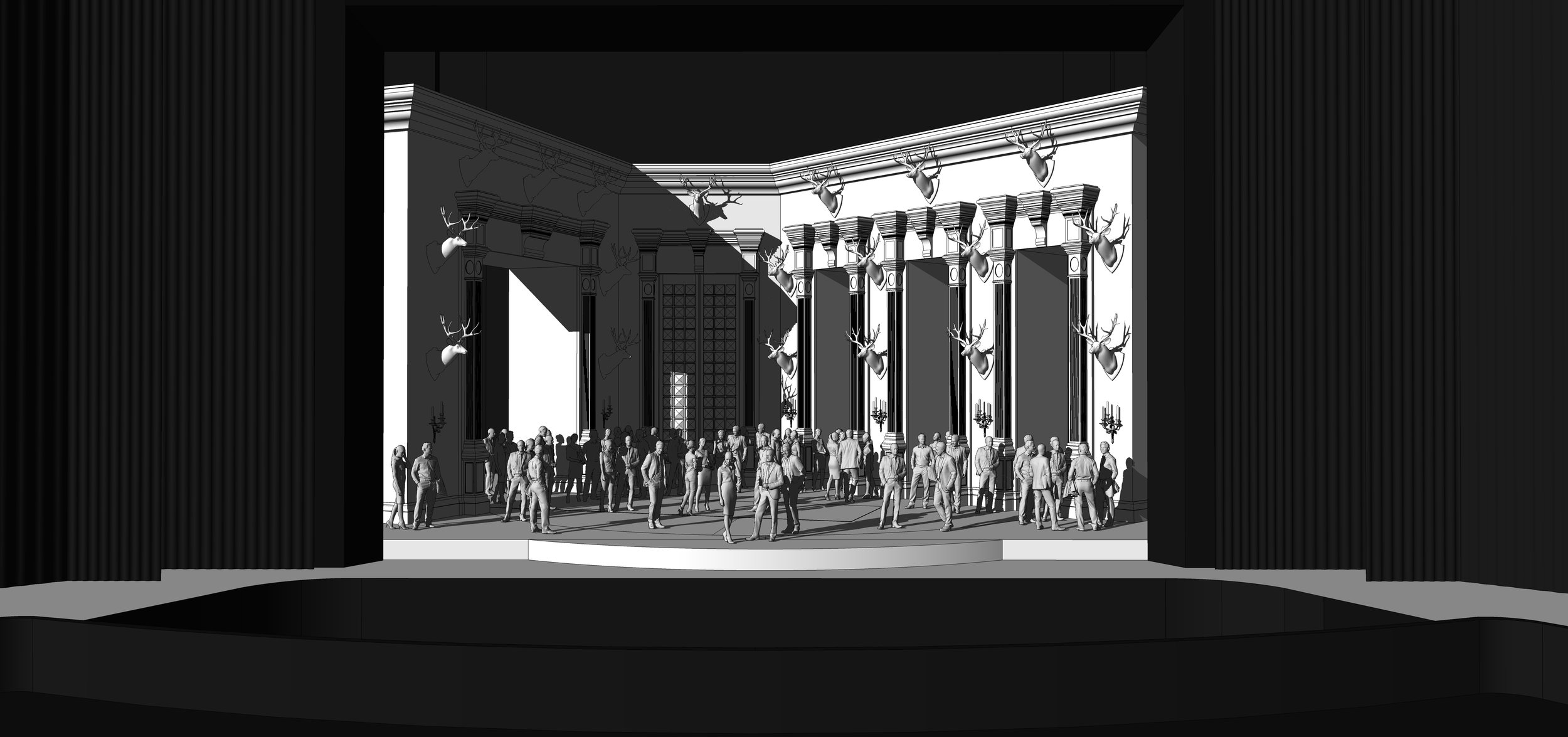 FINAL DESIGN | Act 2 Scene 2 - The Great Hall in Ravenswood Castle - SketchUp Model
