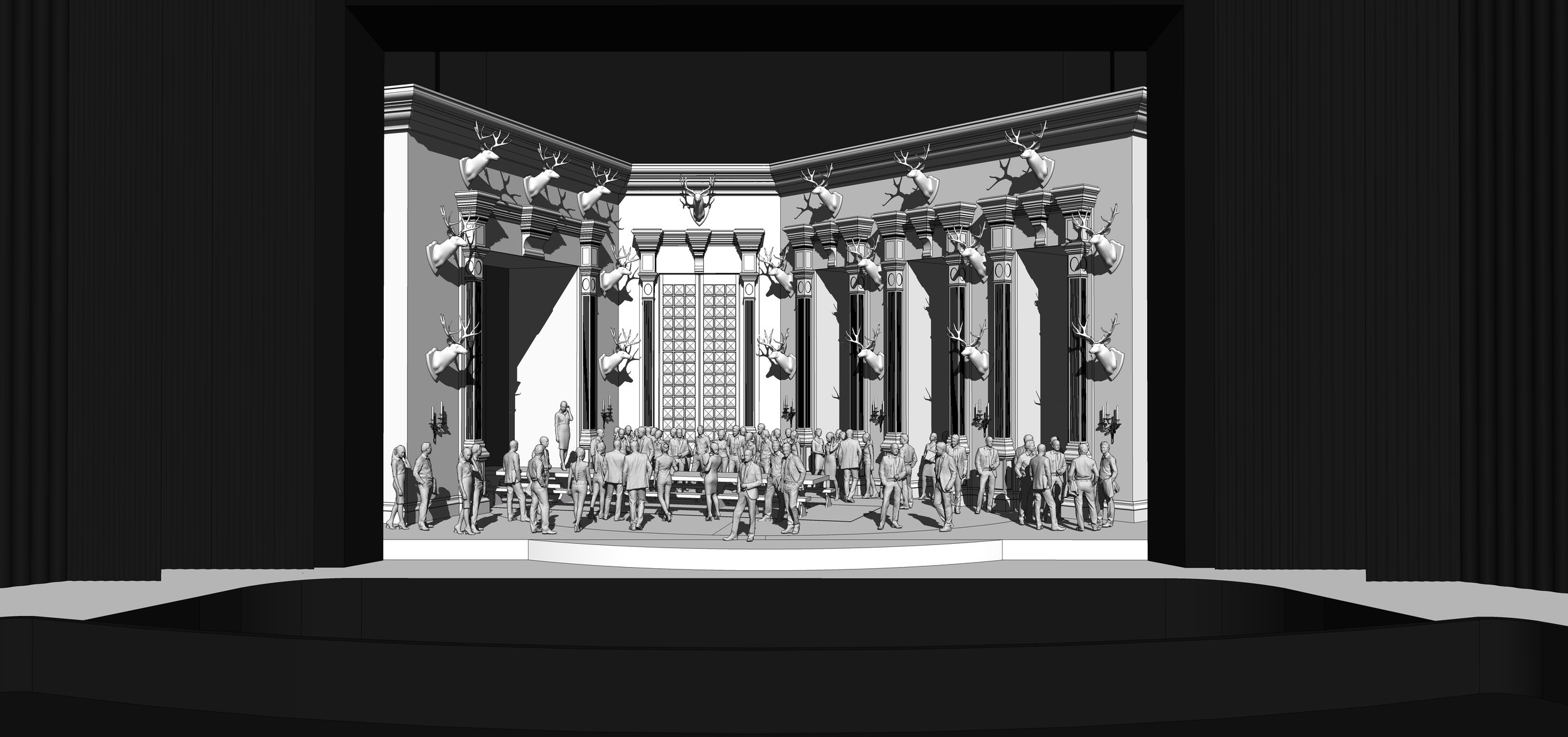 FINAL DESIGN | Act 3 Scene 1 - The Great Hall in Ravenswood Castle - SketchUp Model