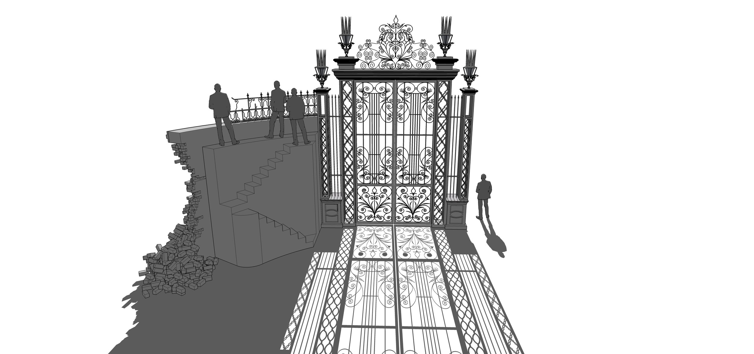 RAVENSWOOD GATE & WALL - SketchUp Model
