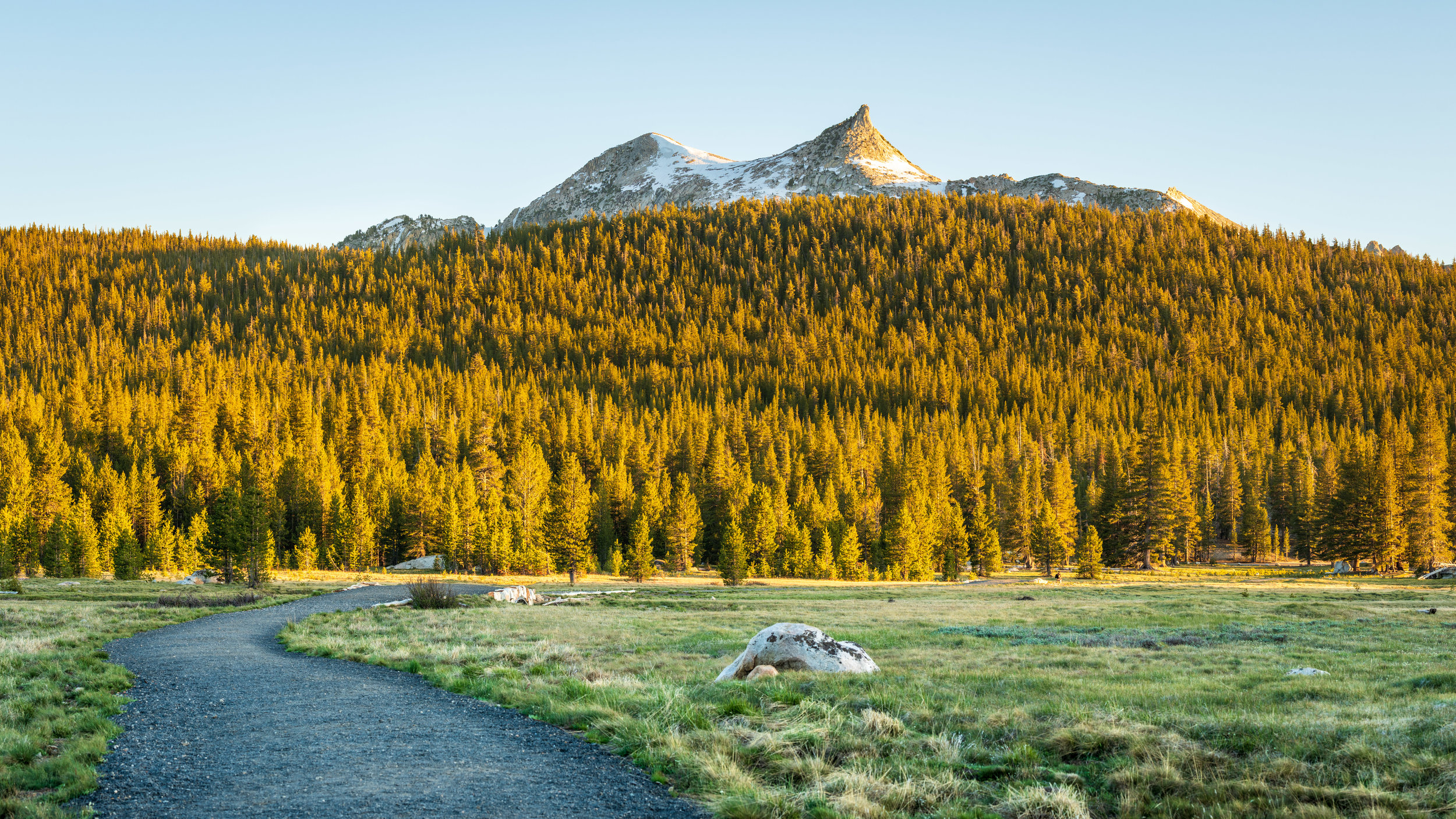 """A panoramic shot of Cathedral Peak at Tuolumne Meadow. (5 shots panoramic stitched, 1/20 sec at f/8.0, iso64, 70-200mm len @70mm) GPS coordinate: 37°52'21.8""""N 119°22'10.5""""W"""