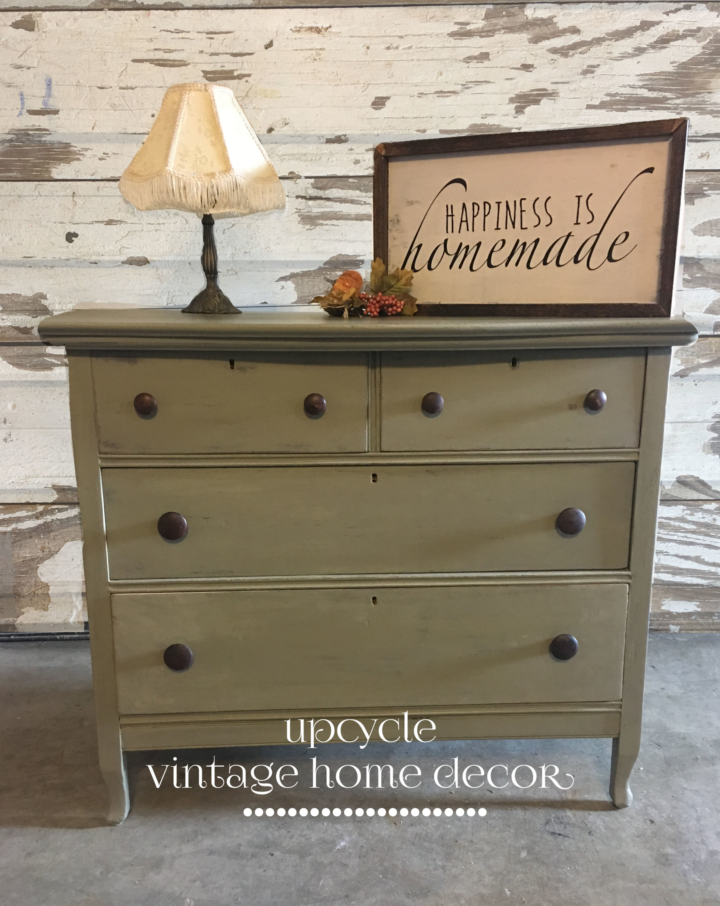 Solid Walnut Dresser painted in FMP Lichen with Driftwood