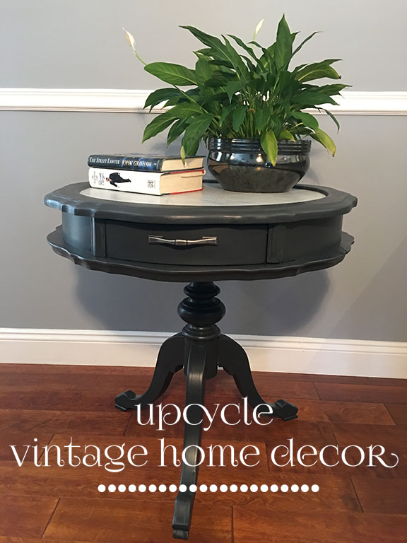 Leather top side table painted in FMP Ash with a faux marble top.