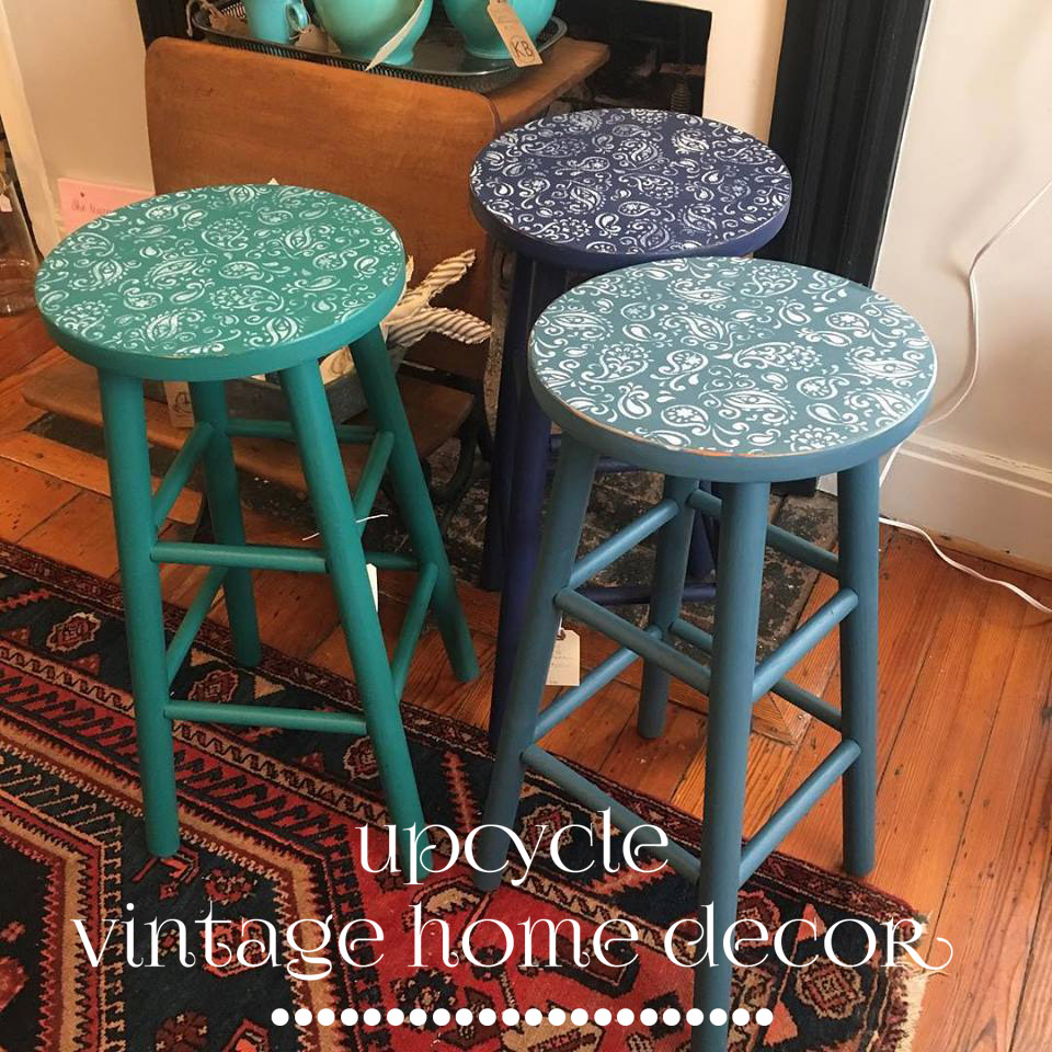 Stools painted in Fusion Renfrew Blue, Liberty Blue and Homestead Blue. Stenciled seats.  Available at The Blue Hearth