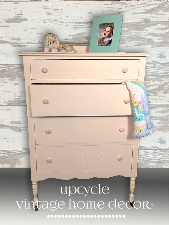 Adorable oak dresser painted in Fusion Little Piggy - a soft, blush pink with floral lined drawers.  Available at The Blue Hearth - $159