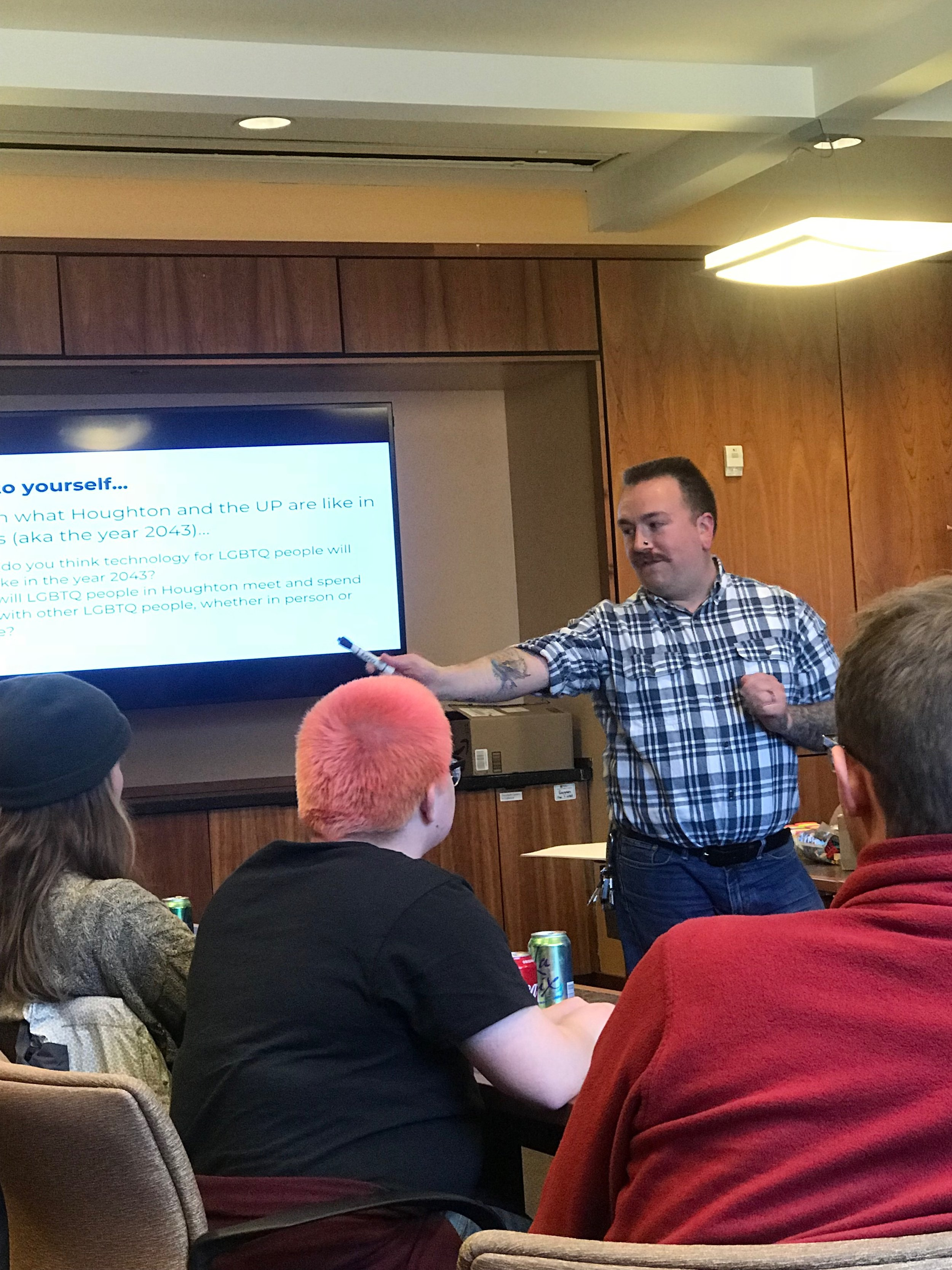 Above is a picture of our Primary Investigator (Jean Hardy)leading a workshop in Houghton, Michigan in May of 2018.