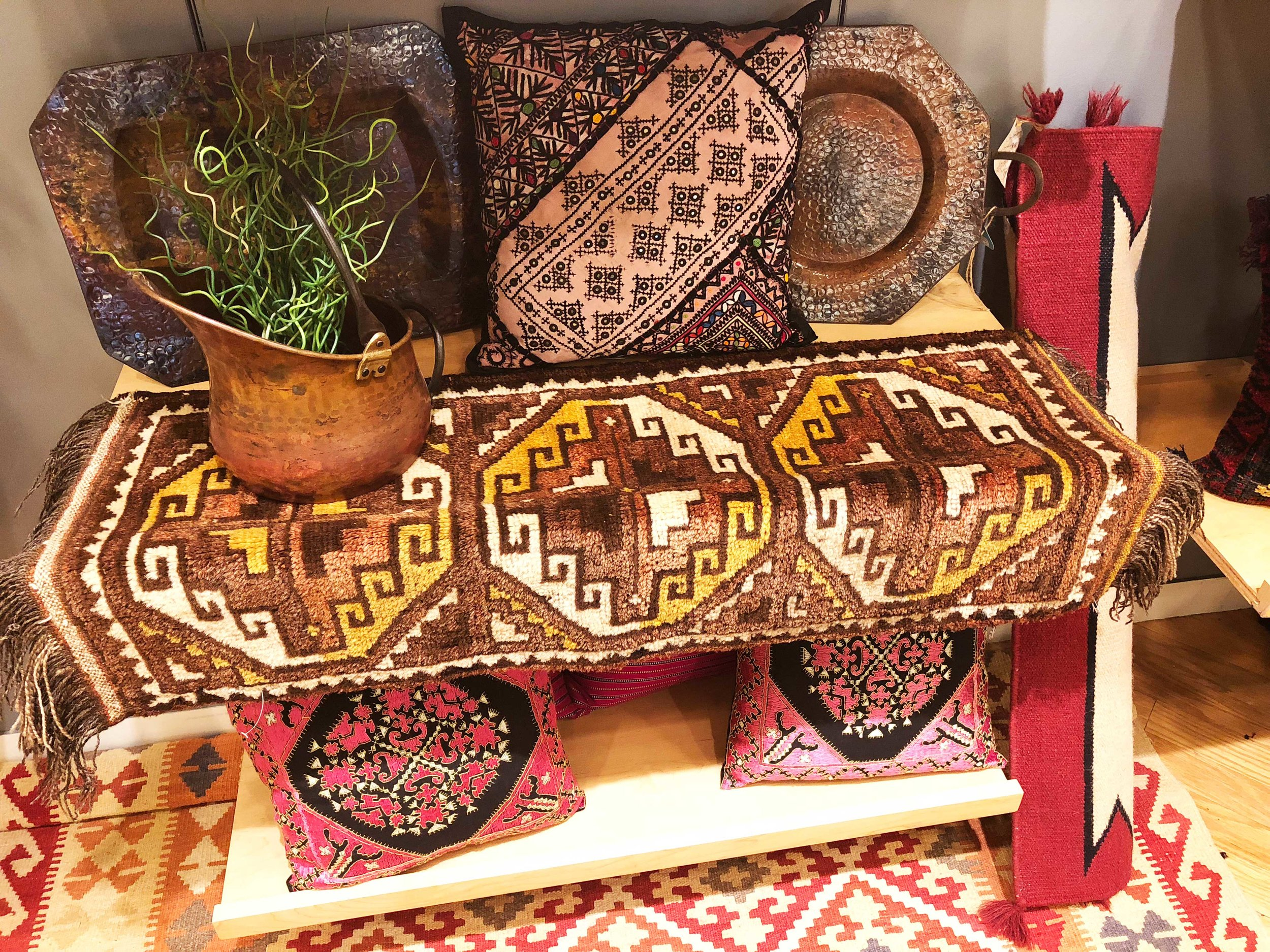 Home Decor - Turkish and Kilim rugs, Indian furniture, pillows, throws and blankets, copper, pottery, vases, candlestick holders
