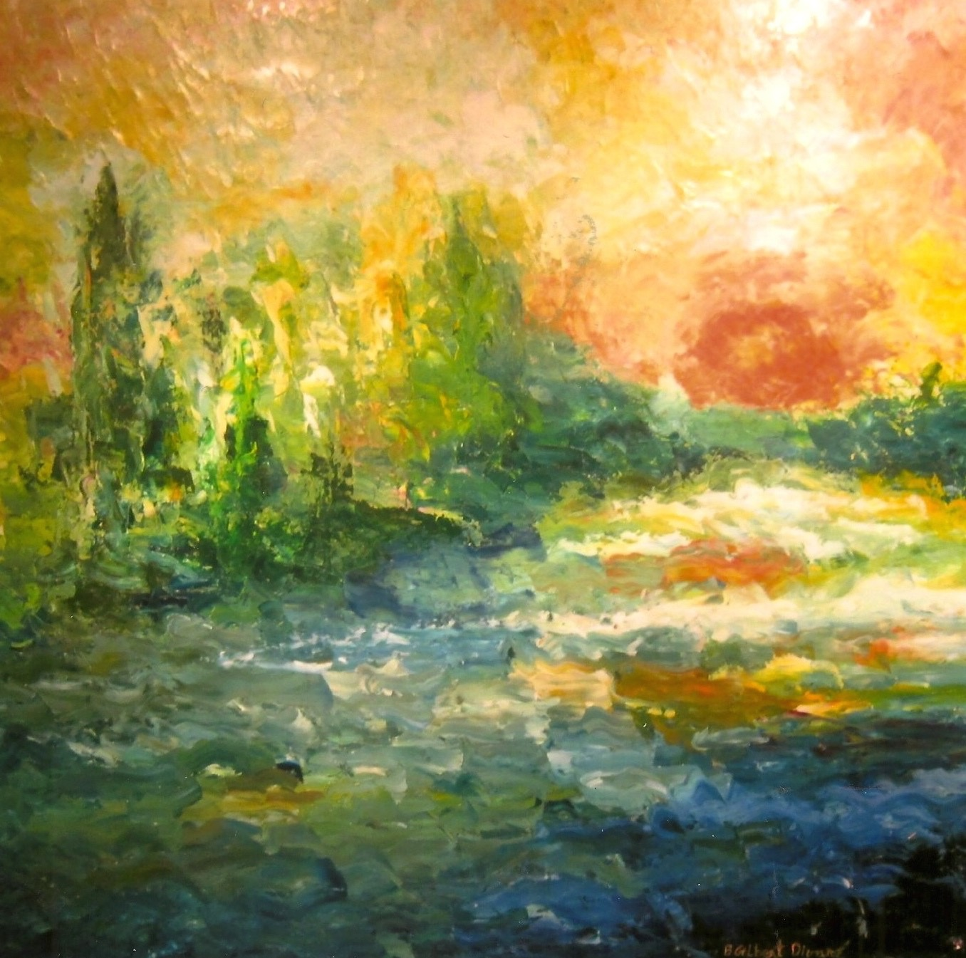 Upstream View from the South River Bridge Oil on Canvas 36x36(sold)
