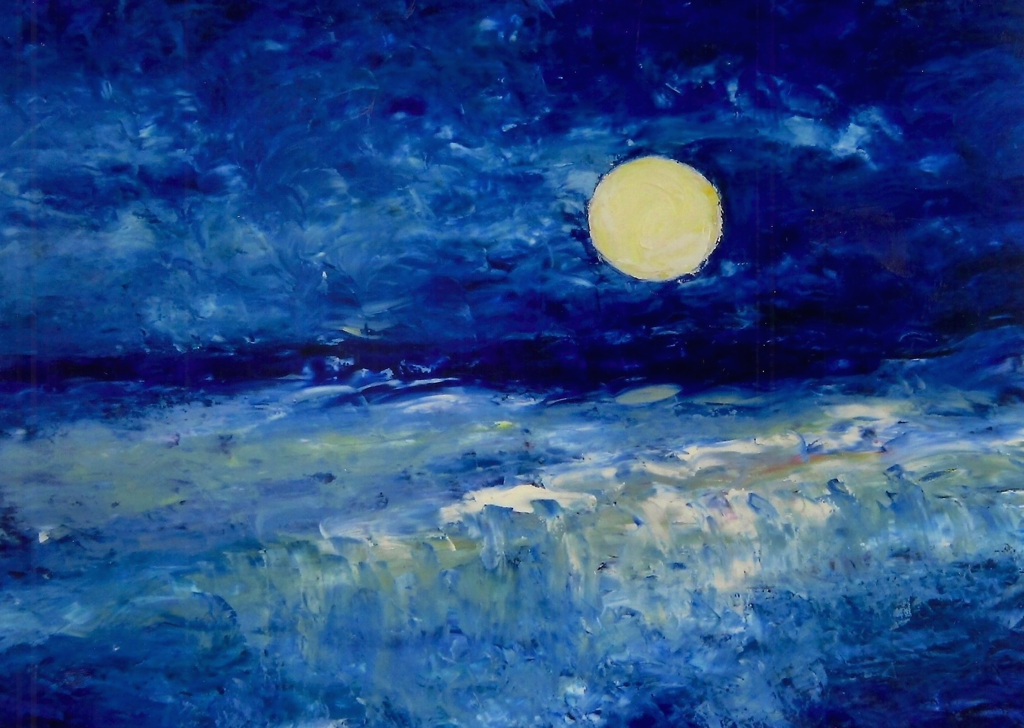 Moon Over the Dam 30x40 Oil on Canvas