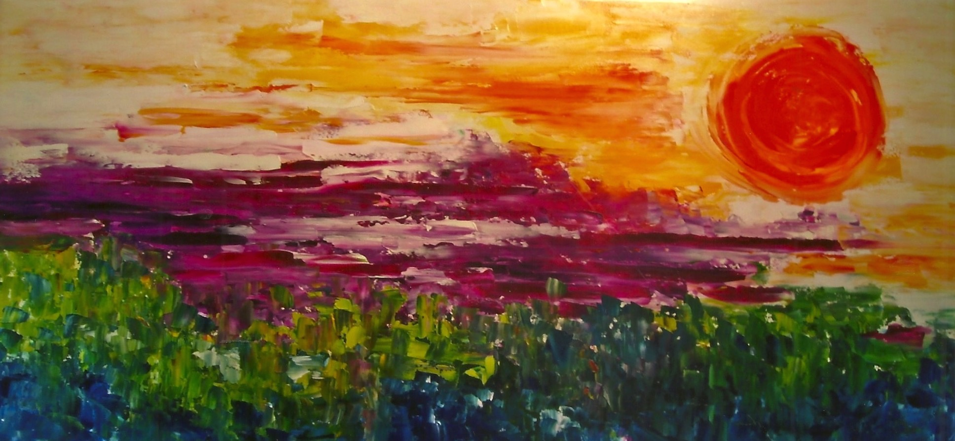 Sunset Over the Chive Field (sold)