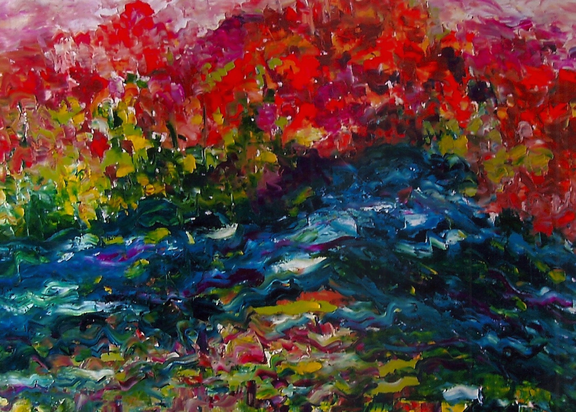 Autumn at The Point, 36x48 Oil on Canvas  Island Park, Momence IL (sold)