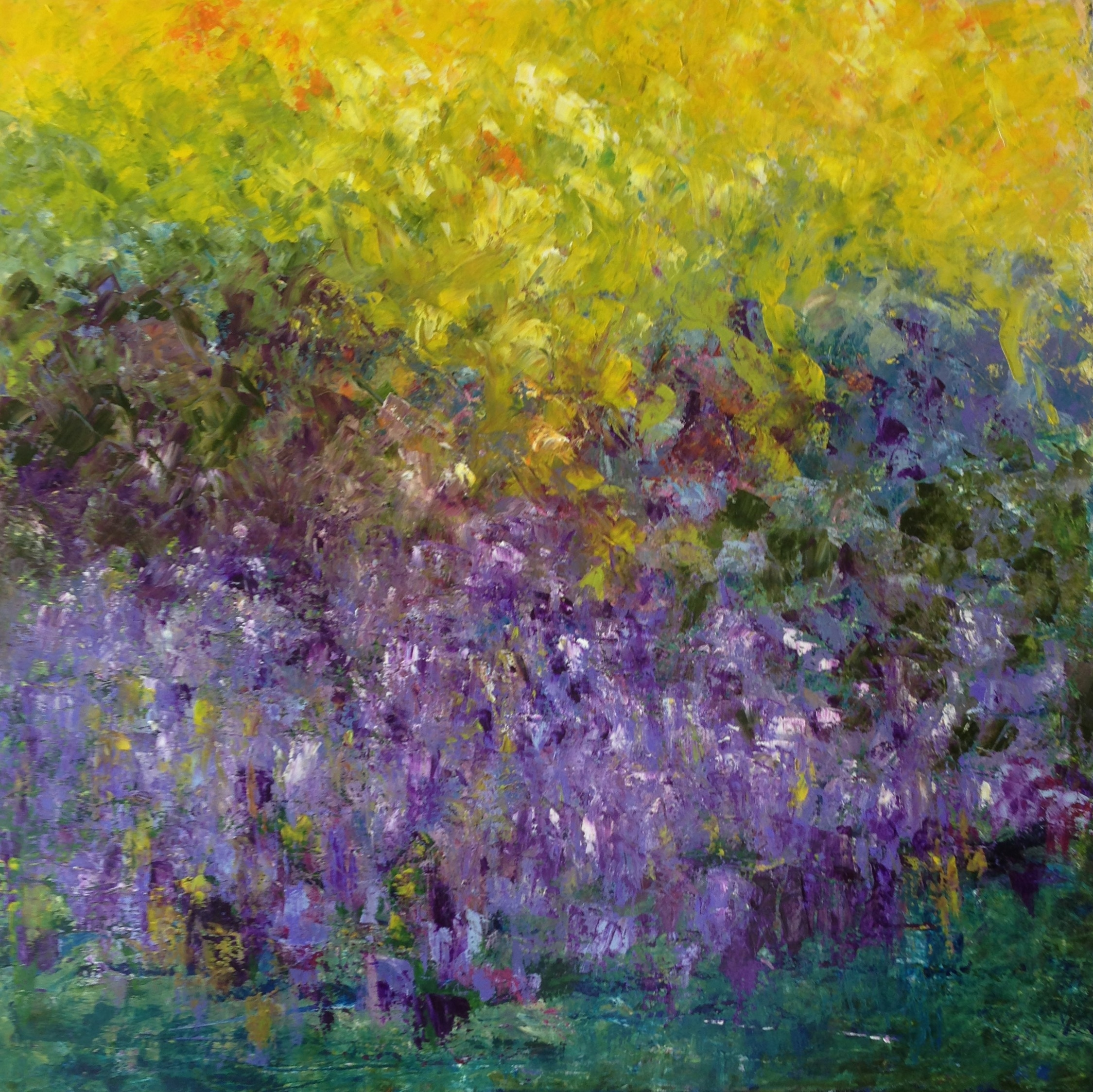 Chive Field In Bloom on River Road 36x36 Oil on Cancas (sold)