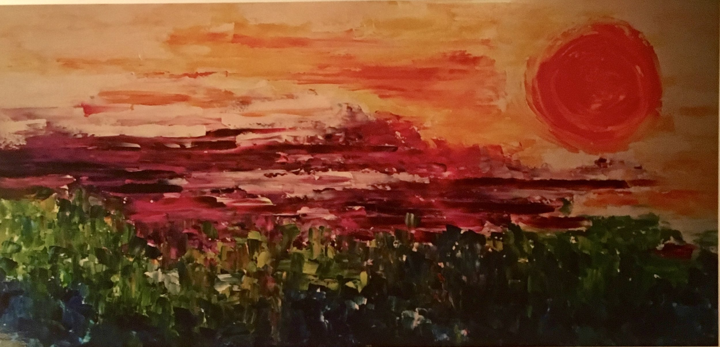 Sunset Over the Chive Field Oil 24x48 Sold