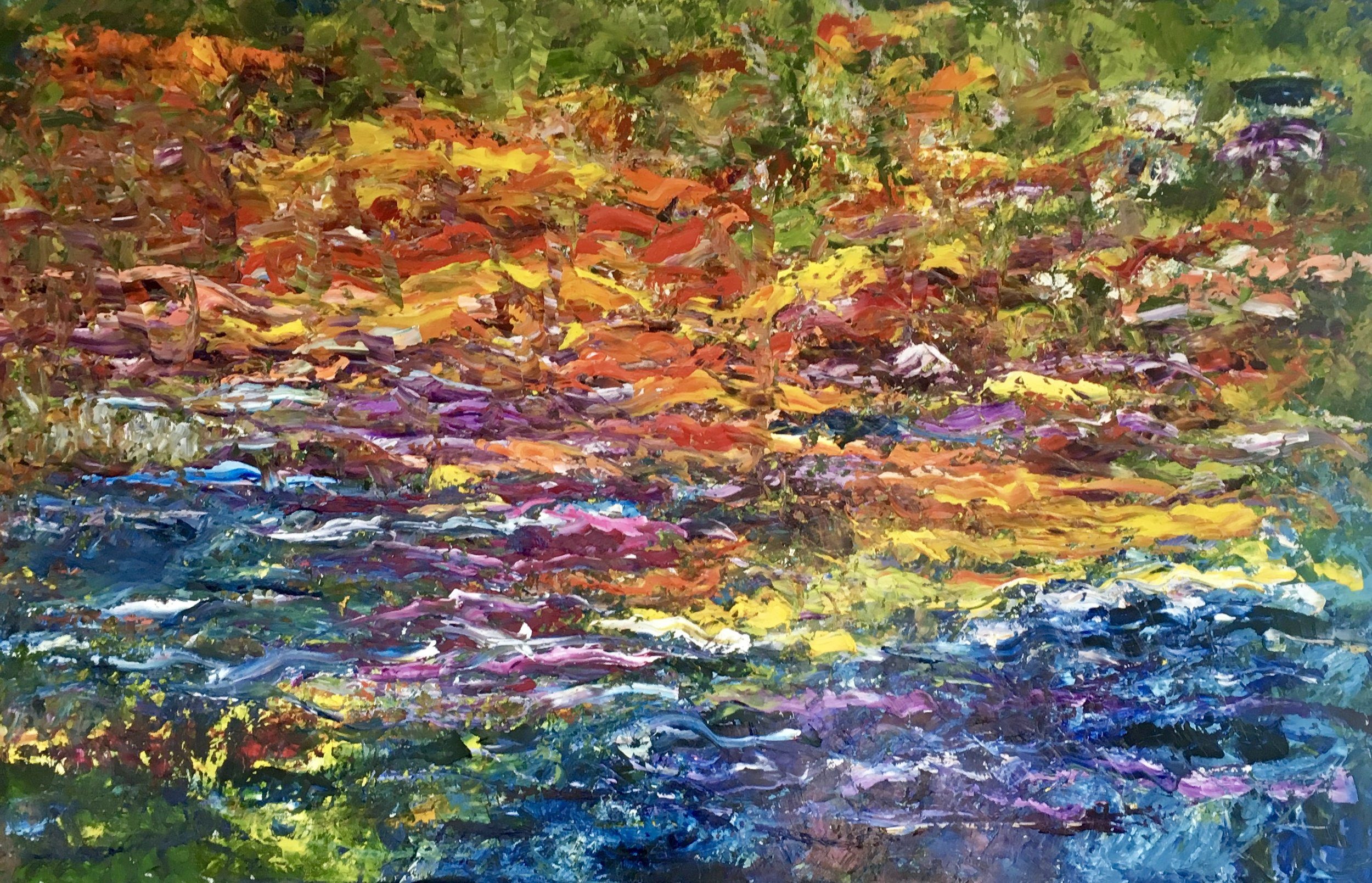 SOLD: Autumn on the Left Bank   Oil on Canvas  30x48
