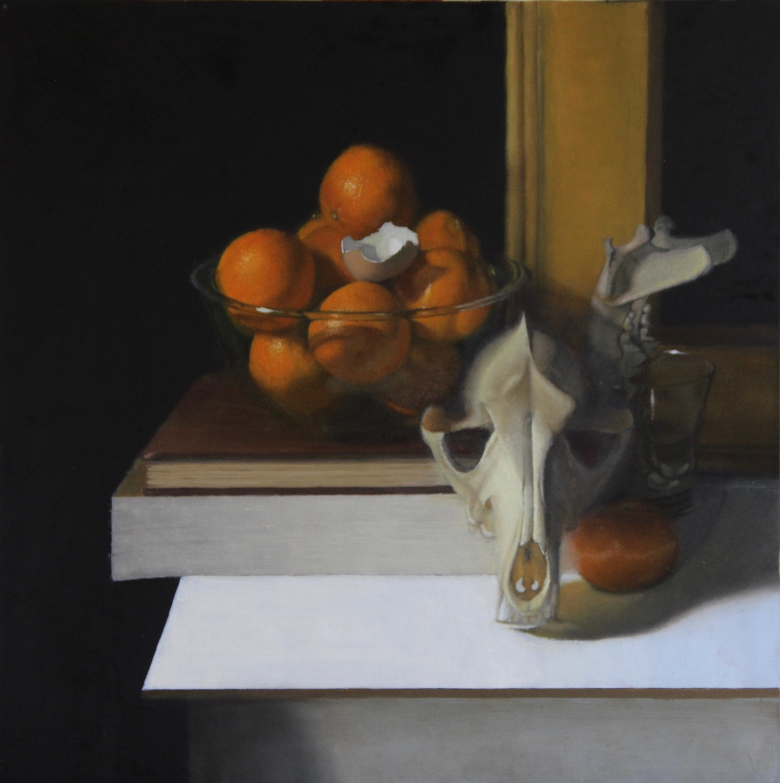 """""""Oranges and Skulls""""    20x20, Oil on Panel    $1060 SOLD"""