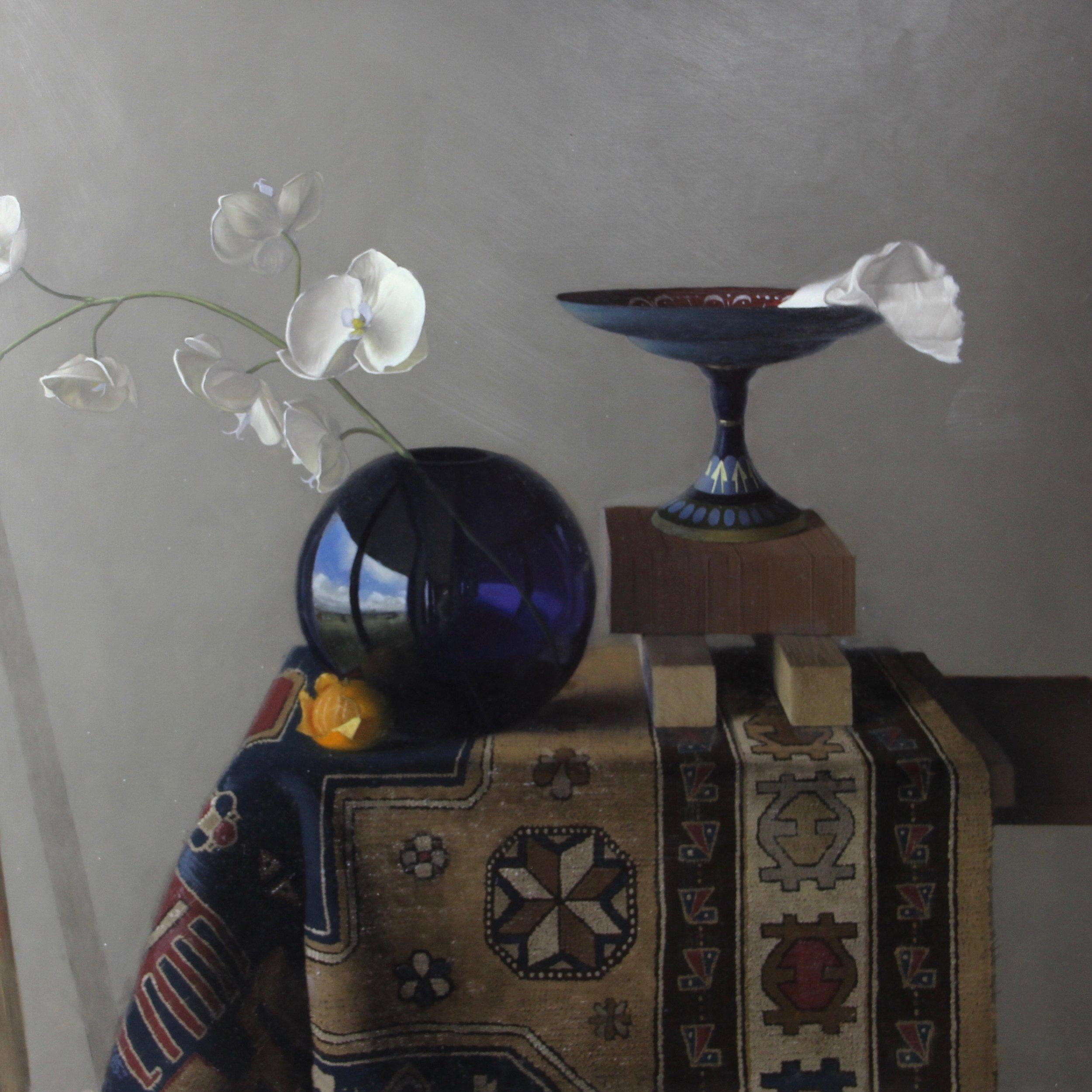 """"""" Blue vase, Orange, & Rug""""    22x22, Oil on Panel    $1300"""
