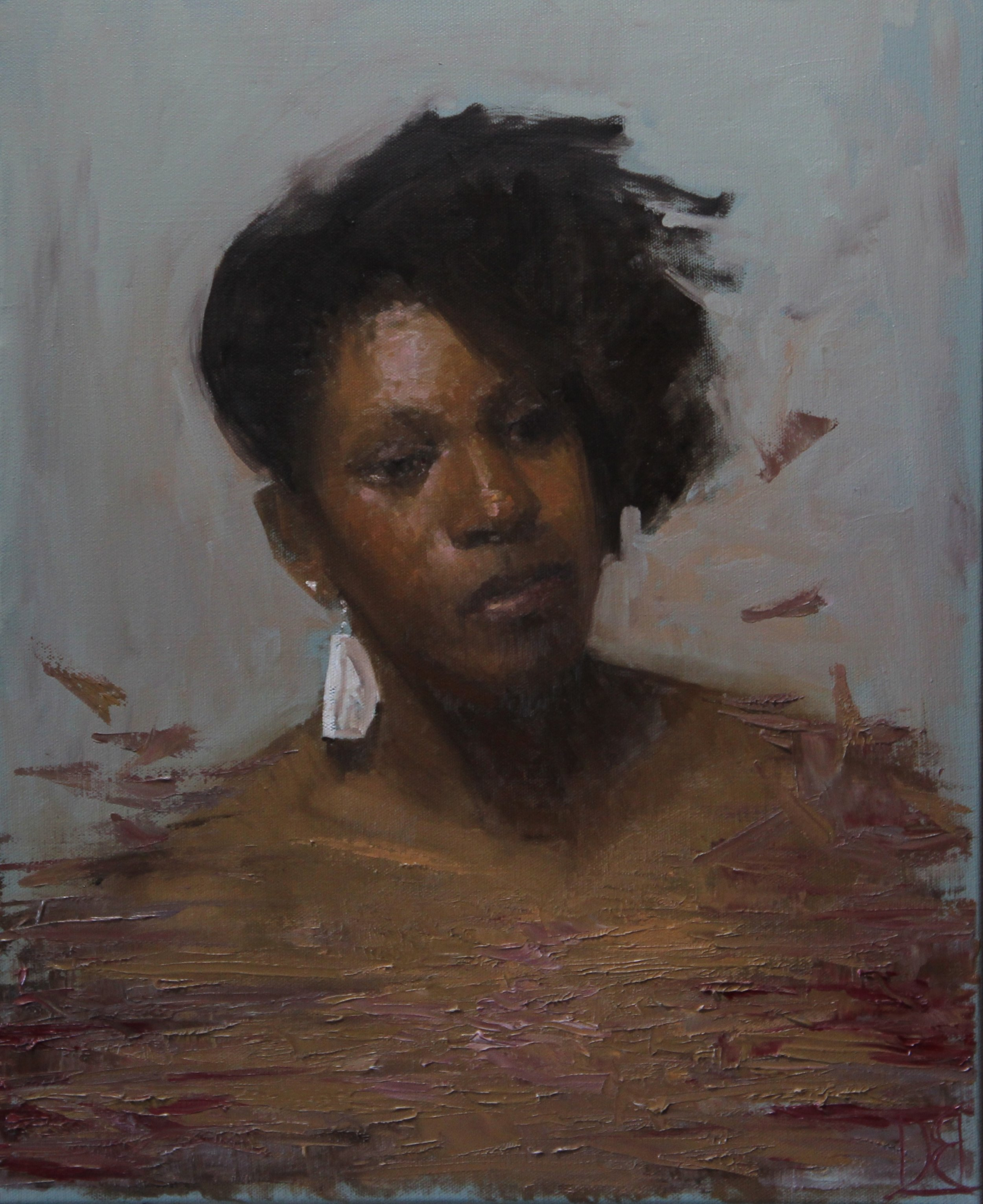 """""""Shannon with White Earring""""    16x20, Oil on Canvas    $780"""