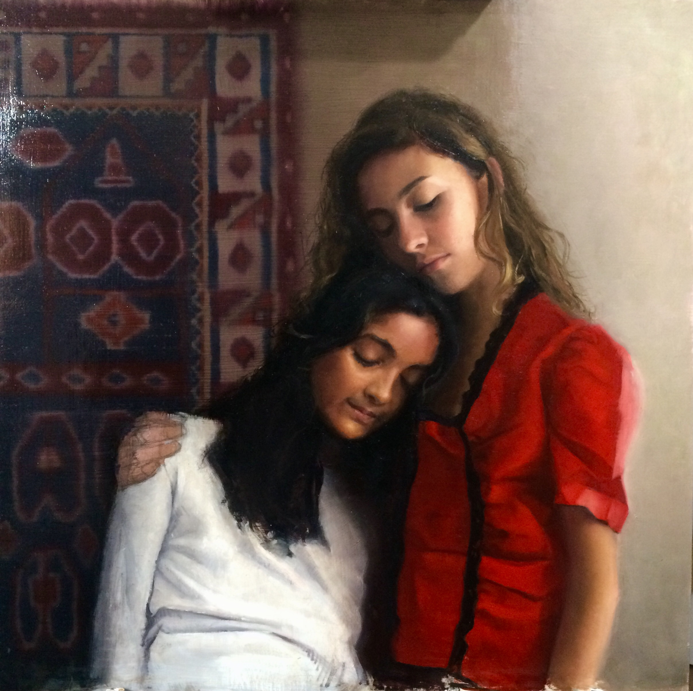 """Sisters""  Oil on Panel  24 x24  $1500  SOLD"