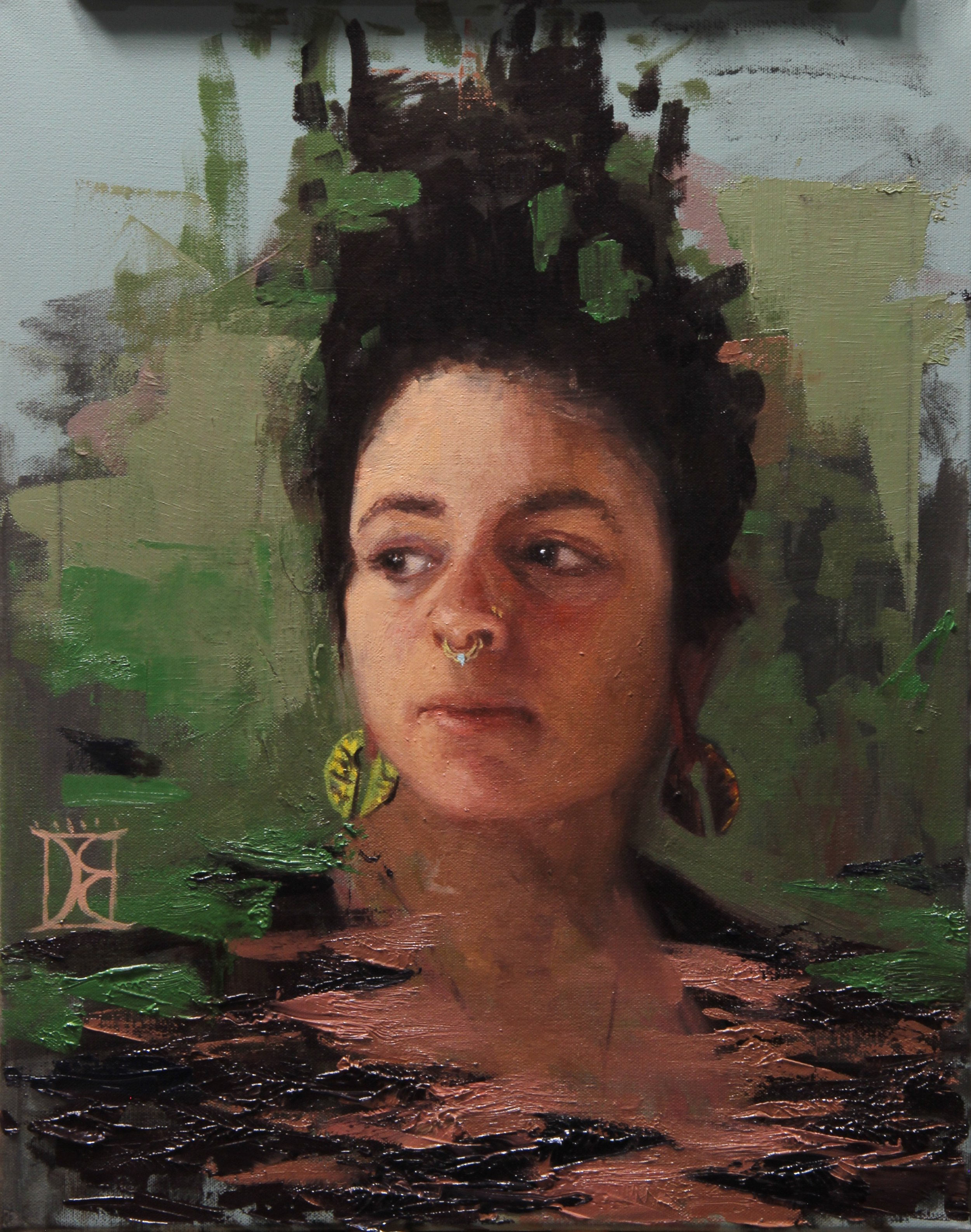 """Jen with Green""  16x20  Oil on Canvas  $780"