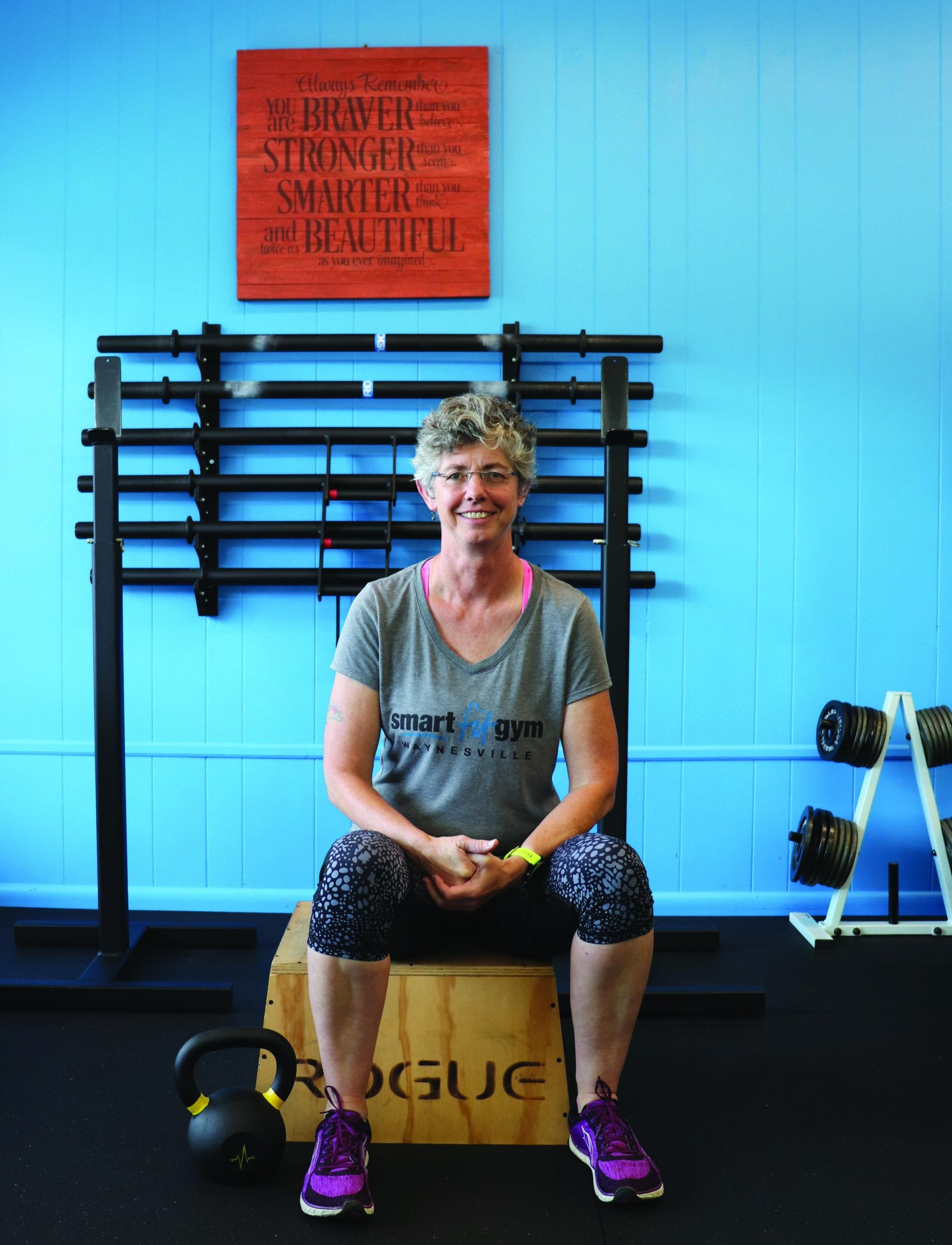Diane Giermek(Trainer & Specialist) - I've always enjoyed being physically active. I went into the Army after high school and loved the experience of becoming strong. But it wasn't until I was 51 that I decided to register for the Lake Logan Sprint Triathlon so that I would have a reason to learn to swim. And learning to ride a bike on the roads and hills of Haywood County was a much different experience than riding a bike as a kid! I enjoy running 5K-Half marathons. Strength training has greatly improved my ability to continue to be active, but we need to be more than just strong. I've dealt with injuries over the years…it's frustrating and humbling. Each time I endeavor to learn more about how our bodies work and what they need. I've come to appreciate the importance of recovery work…taking care of the body after pushing its limits. Understanding the importance of proper nutrition, hydration and mobility work are tools I've incorporated in my training and bring to my clients.You will learn:Range of Motion Biofeedback testing to ensure the workout is challenging, but not overworking youFunctional movement exercisesProper form and technique