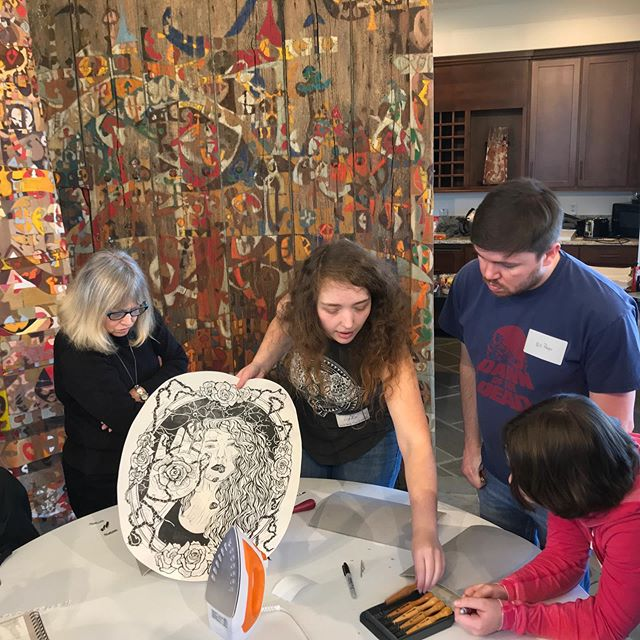 @wkuprintmaking @bronwynliddle, @marleejones and @marilee_salvator are leading a workshop today @downing_museum ! Workshop was funded by #wkufusegrant