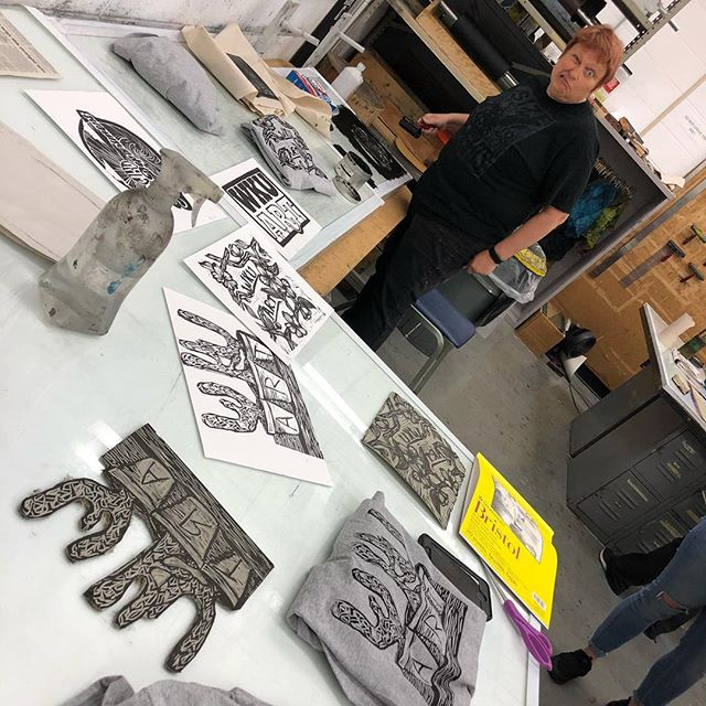 #wkuprintmaking and @marilee_salvator say - come to the WKU and SKYCTC student show at @elliswalkergallery Fri March 22 @ 5 pm for a free hand printed shirt!