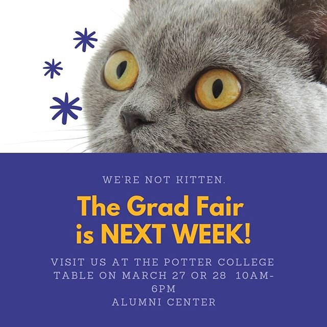 Hey, Grads!! Make sure to go to the Grad Fair next week at the Alumni Center to get all things graduation related! #wkuart #almostalumni