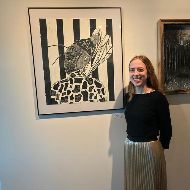@mysticapricot_art with her work @elliswalkergallery. Congrats! #wku #wkuart #wkuprintmaking #printmaking #reliefprint