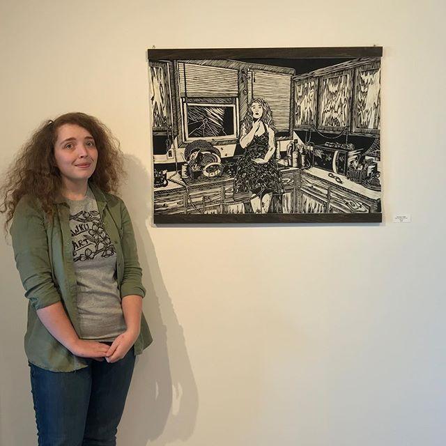 @bronwynliddle with her work @elliswalkergallery. Congrats! #wku #wkuart #wkuprintmaking #printmaking #reliefprint #linocut