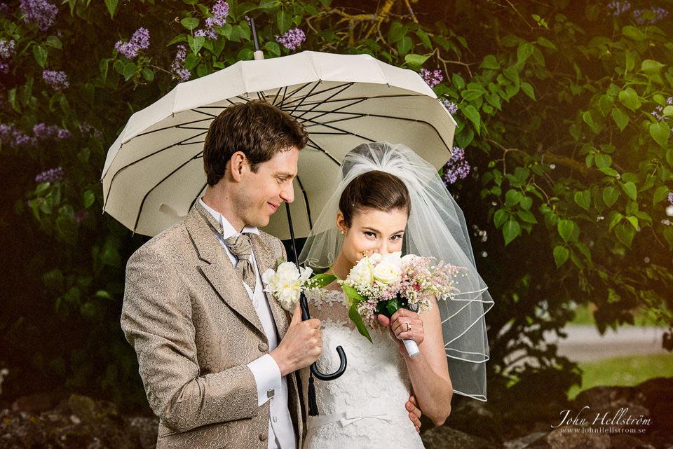 Smelling the wedding boquet