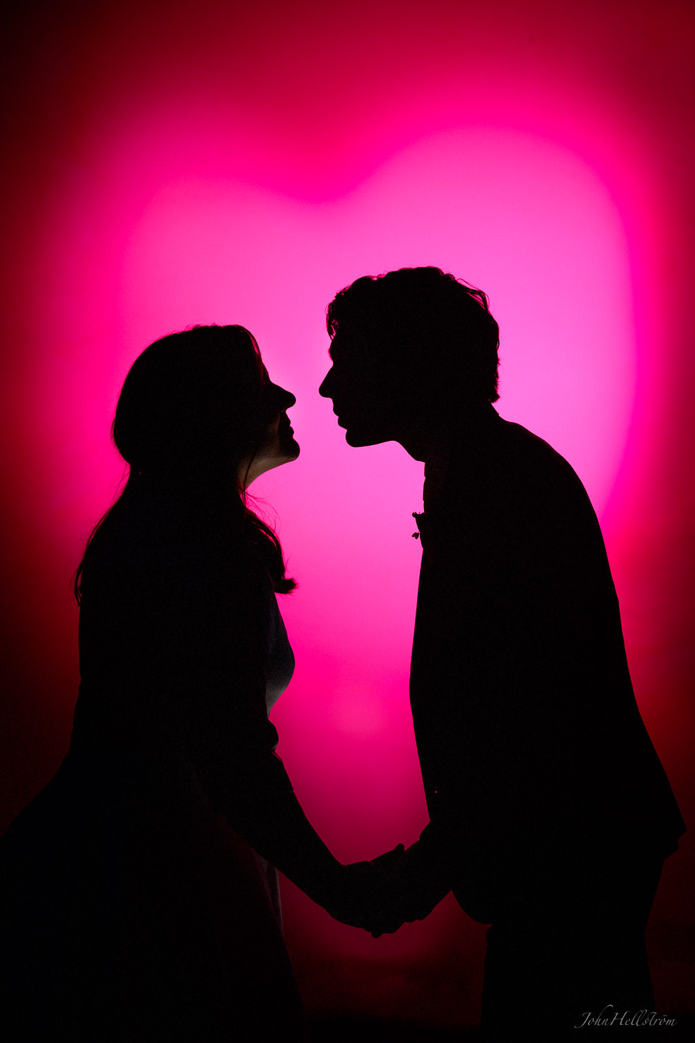 A loving moment. Image created by shaping and colouring a flash light.