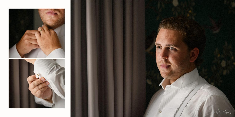 Brudgummen förbereder sig på Grand Hotel Stockholm