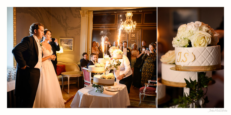 Wedding cake cutting at Grand Hotel