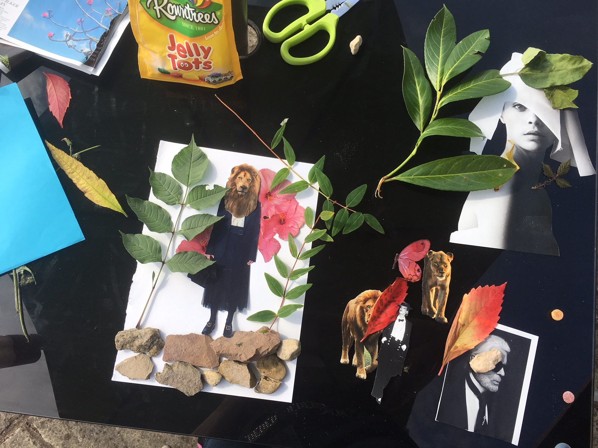 Example of my Design process - I used images cut out from magazines and made a collage on a table. I used rocks, flowers, leaves - anything I could find and played around with different ideas. I photographed the collage images and used those photographs in my design work.