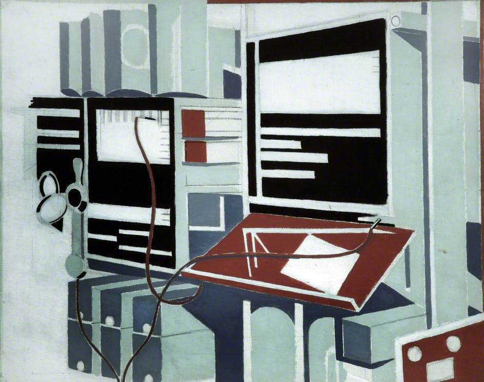 Paul Nash,  Telecommunications , 1934.  Walker Art Gallery . I'm sure I read somewhere (but can't now find) that this was a commission, which would make sense as it is very different from Nash's normal subject matter. While I had admittedly been looking at lots of versions of the same photograph of the Manchester Baby just before I found this, and it is in any case somewhat absurd to treat as a visual record of 1930s telecommunications history, I immediately saw a resemblance here to the Manchester Baby which is not coincidence. The Baby, like the Colossus before it, was built in the the upright bedstead-like 'frame' architecture of pre-war telephony infrastructure.