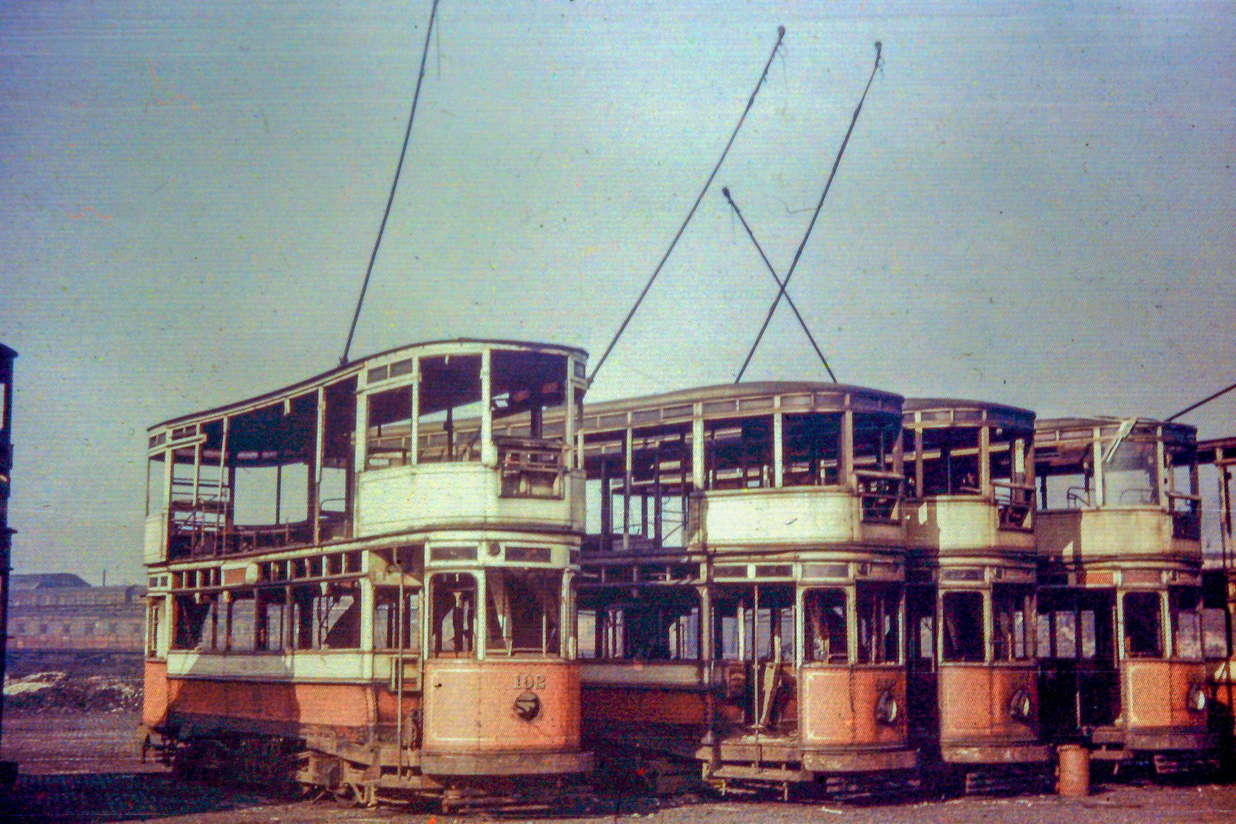 Trams being scrapped, c1949, courtesy the  Museum of Transport . Photographer unknown.