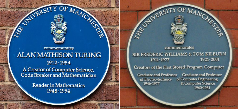 Turing, Williams and Kilburn, side-by-side online even though they literally face in opposite directions.