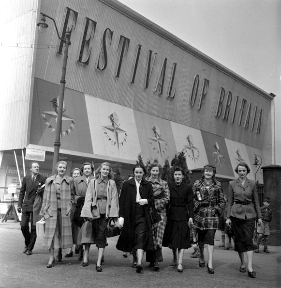 Festival of Britain publicity shot in front of the temporary facade of the Lower Campsfield Market, now the Air and Space Hall of the Museum of Science and Industry.