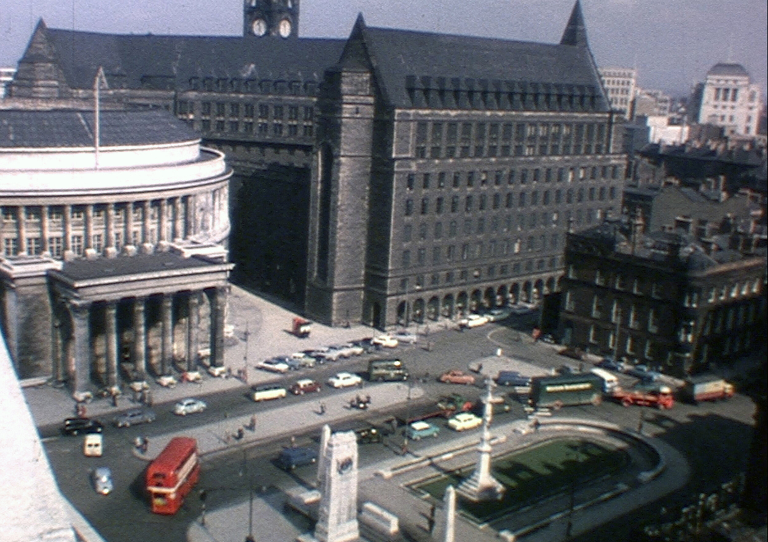 St Peter's Square, 1961. Still from  Technological Education in Britain , a film produced by UMIST and probably copyright by the University of Manchester. A copy of the film is held by the  North West Film Archive  and it can be viewed online at  BFI .