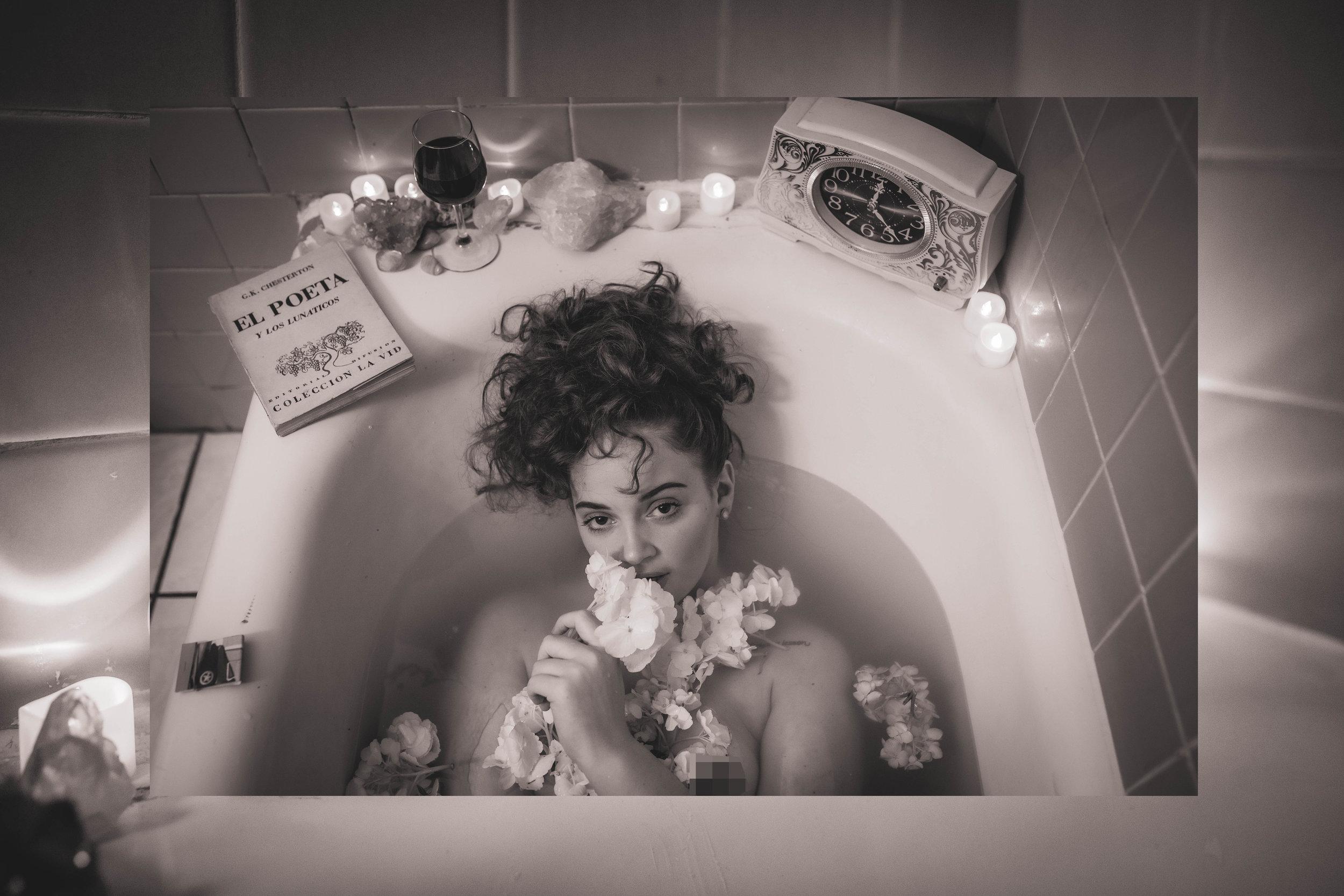Jeana takes a bath -