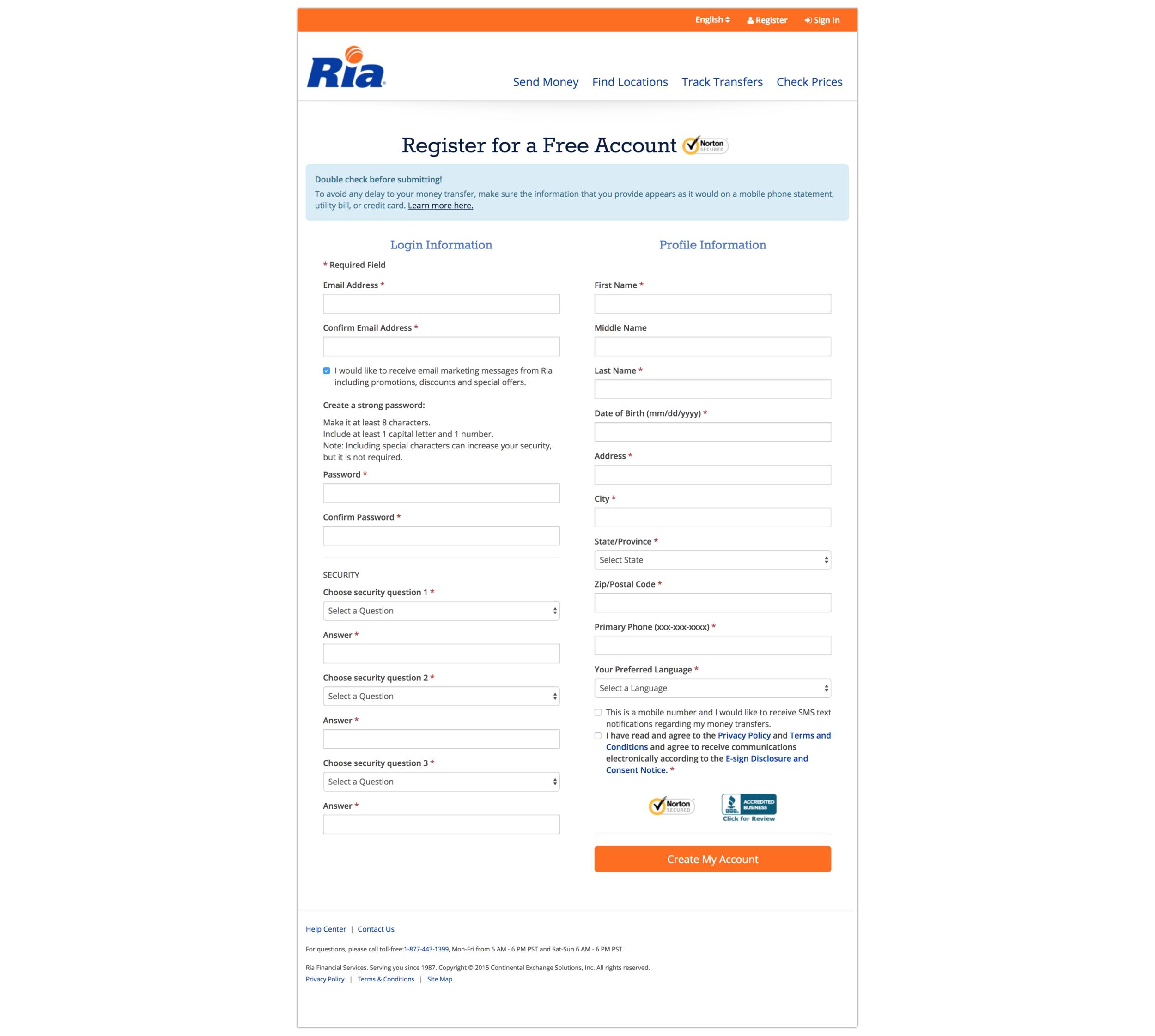 Ria Money Transfer Registration - 2015 | 2 Column | Single Page