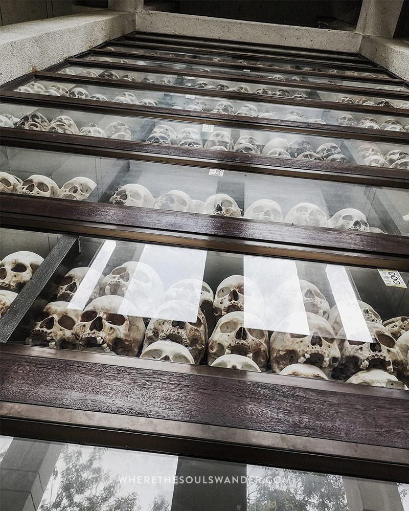 Thousands of skulls at the memorial pagoda at Choeung EK