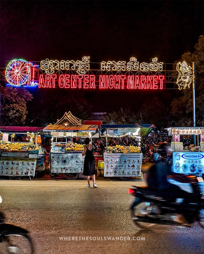 Exploring the night market in Siem Reap