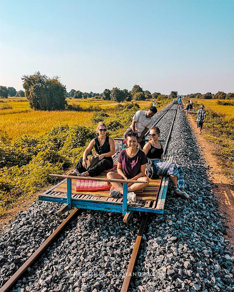 In Battambang your can take a ride on the traditional bamboo train.