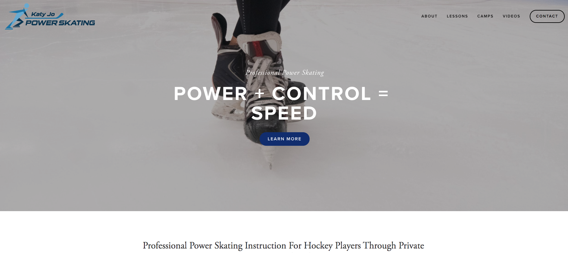 Katy Jo Power Skating website design using Squarespace.