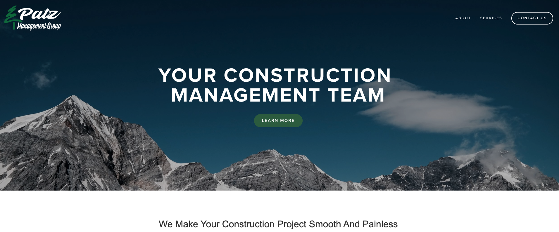 Patz Management Group website design using Squarespace.