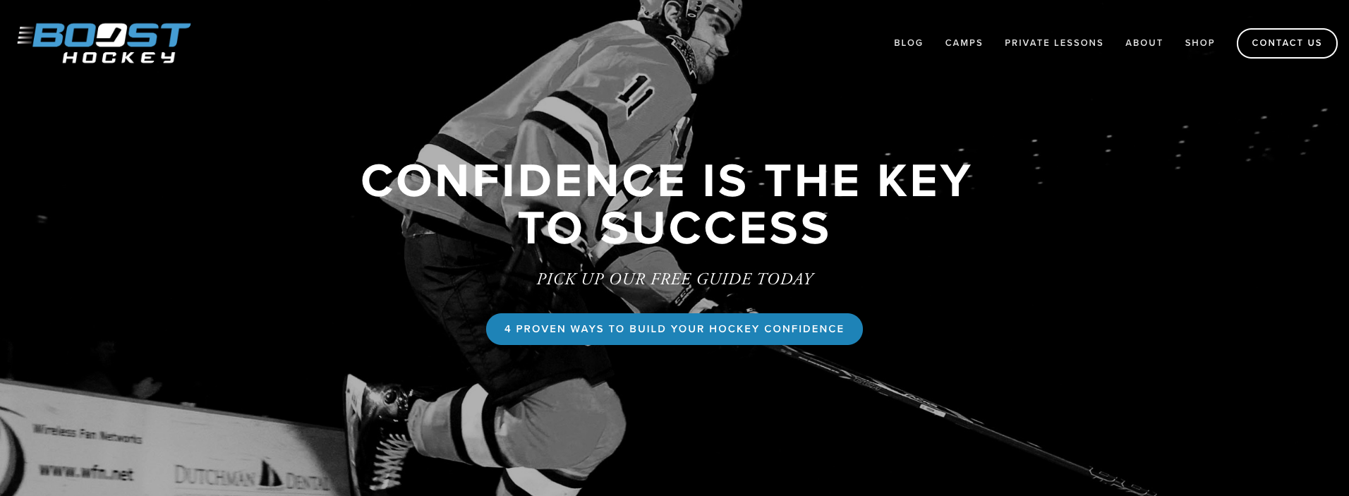 Boost Hockey website redesign using Squarespace.