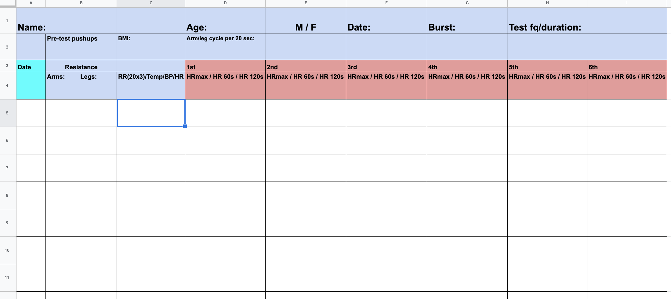 The test spreadsheet used to document the 20-second and 10-second HIIT burst experiment