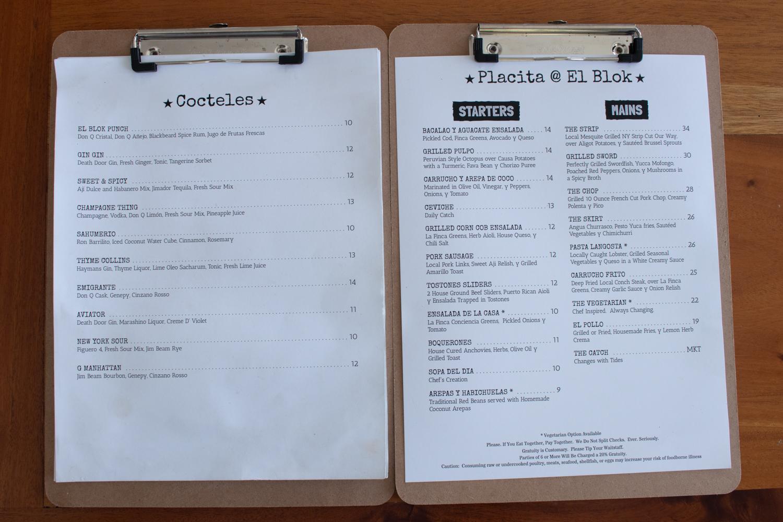The drink and dinner menu at El Blok.