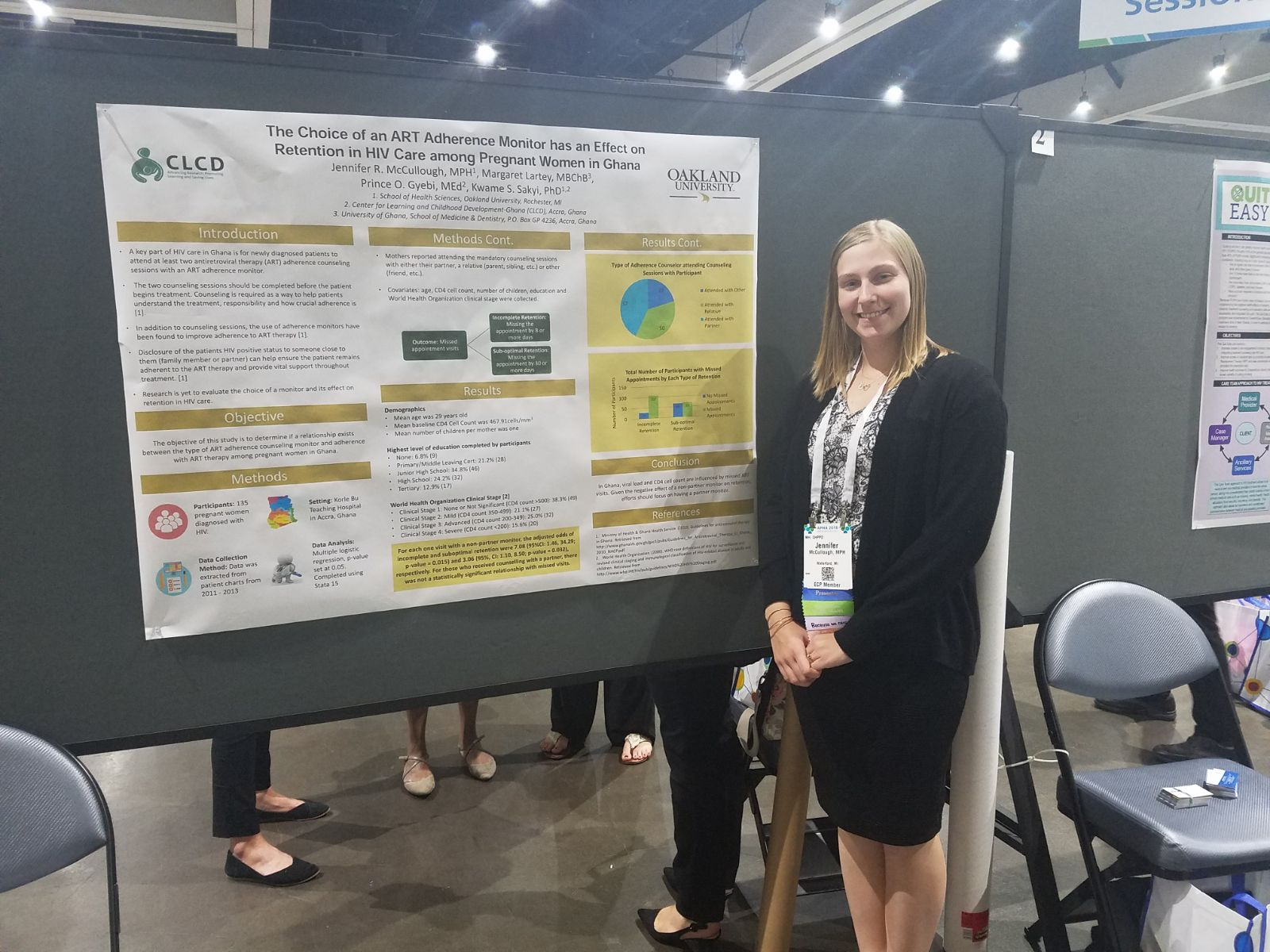 CLCDG researcher, Jennifer McCullough shares her work on ART adherence and CD4 cell count at the American Public Health Association Meeting in San Diego, CA